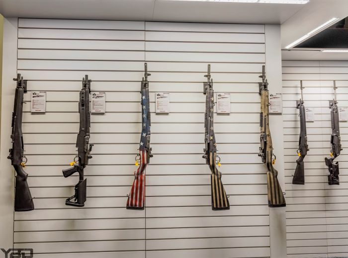 A wall of M1As at the Springfield Armory booth.