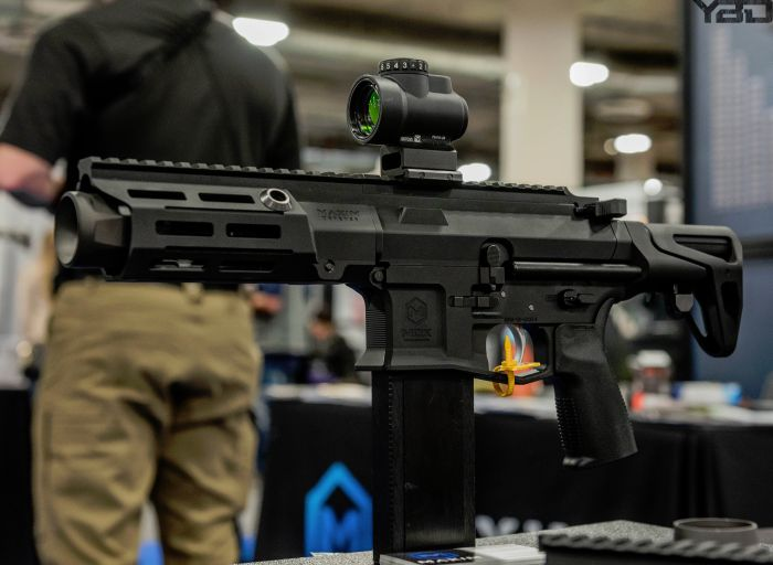 Another shot of the Maxim Defense PDX without a suppressor and available in both black and burnt bronze.