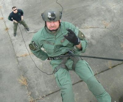 Instructor Duane Lopez Rappelling